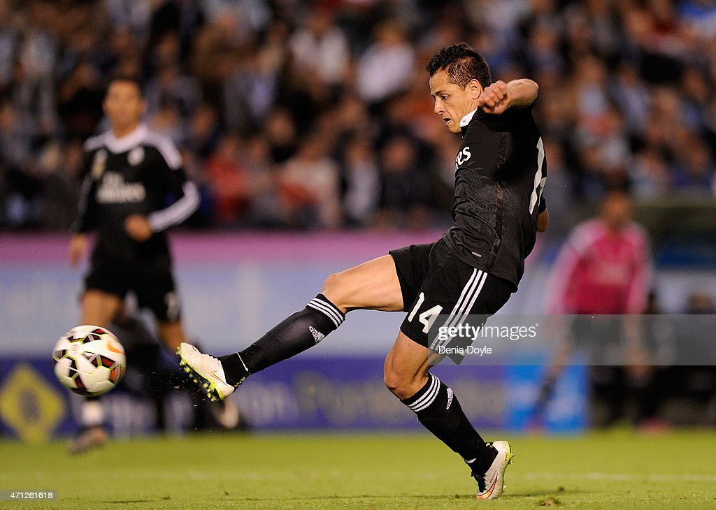 Javier 'Chicharito' Hernandez of Real Madrid scores Real's 4th goal during the La Liga match between Celta Vigo and Real Madrid CF at Estadio Balaidos on April 26, 2015 in Vigo, Spain.