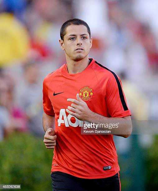 Javier ''Chicharito''' Hernandez of the Manchester United warms up during the preseason friendly match between Los Angeles Galaxy and Manchester...