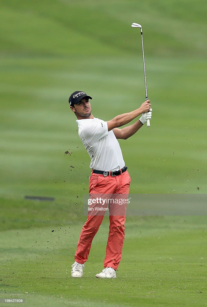 Javier Colomo of Spain in action during first round of the UBS Hong Kong Open at The Hong Kong Golf Club on November 15, 2012 in Hong Kong, Hong Kong.