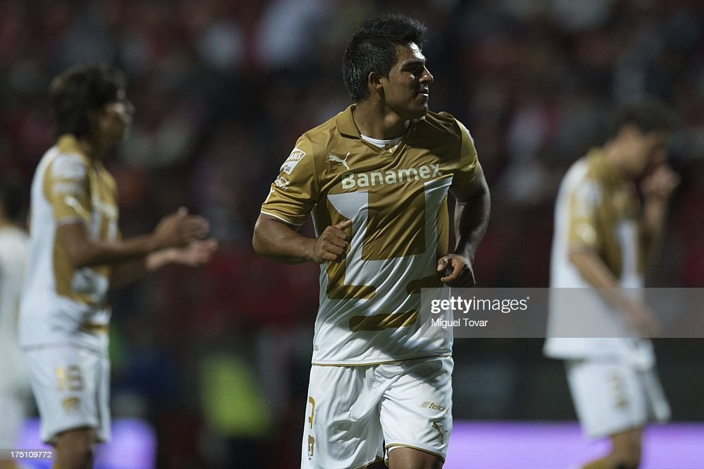 Javier Cortes of Pumas runs during a match between Toluca and Pumas as part of the Torneo Apertura 2013 Liga MX at Nemesio Siez stadium, on July 31, 2013 in Toluca, Mexico.