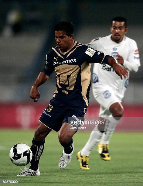 Javier Cortes of Pumas UNAM takes the ball during the match against Guatemala's CSD Comunicaciones for the Concacaf Champions League at the Olympic...