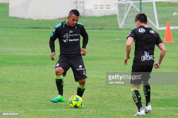 Javier Cortes of Santos kicks the ball during the Pre Season training for the Torneo Apertura 2017 Liga MX at Hotel Iberostar on June 19 2017 in...