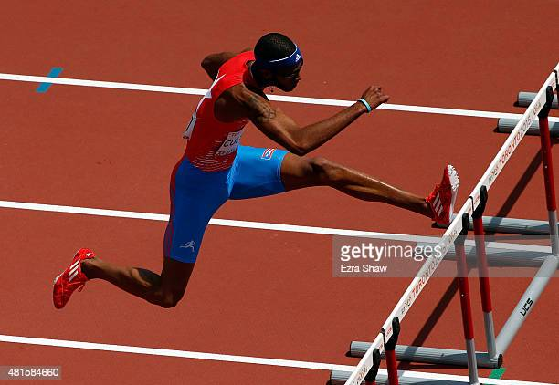Javier Culson of Puerto Rico competes in the men's 400 meter semifinals during Day 12 of the Toronto 2015 Pan Am Games on July 22 2015 in Toronto...
