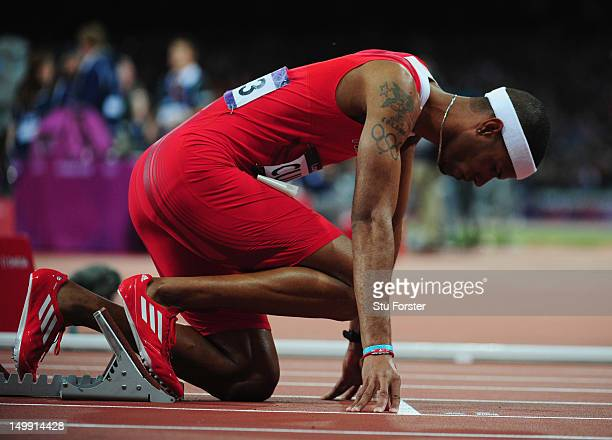 Javier Culson of Puerto Rico prepapres to start in the Men's 400m Hurdles final on Day 10 of the London 2012 Olympic Games at the Olympic Stadium on...