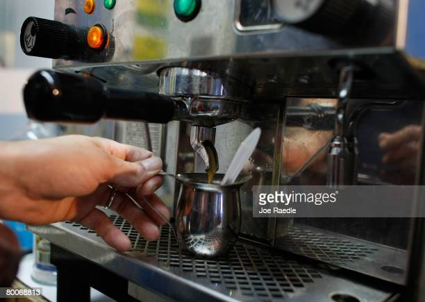Javier De Armas pours an espresso at Red House Cafe February 29 2008 in Miami Florida Today the price of coffee hit its highest level in a decade...