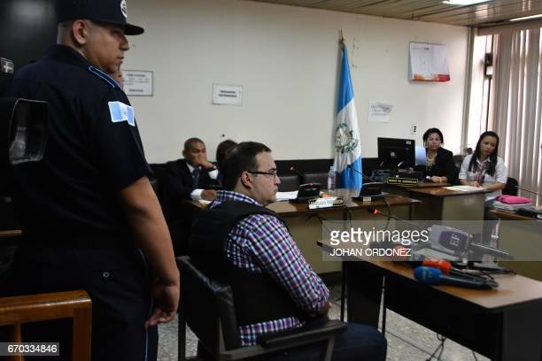 Javier Duarte former governor of the Mexican state of Veracruz appears in court for a hearing at the Supreme Court in Guatemala City on April 192017...