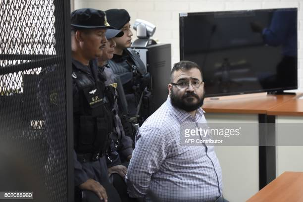 Javier Duarte former governor of the Mexican state of Veracruz accused of graft and involvement in organized crime appears in court for a hearing to...