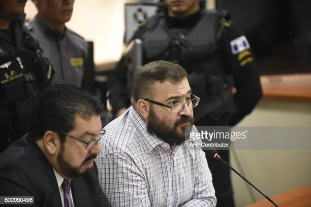 Javier Duarte former governor of the Mexican state of Veracruz accused of graft and involvement in organized crime speaks next to his lawyer in a...