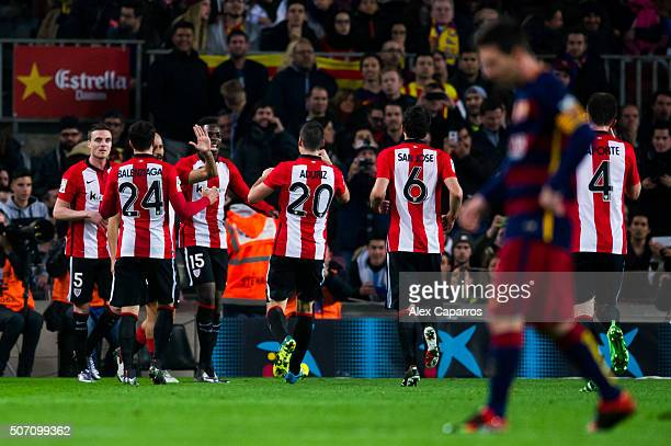 Javier Eraso Mikel Balenziaga Aritz Aduriz Mikel San Jose and Aymeric Laporte of Athletic Club congratulate their teammate Inaki Williams after...