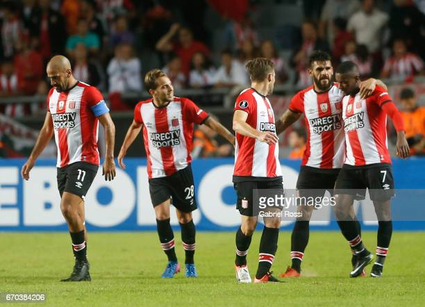 Javier Fabian Toledo of Estudiantes celebrates with his teammates his first goal during a group stage match between Estudiantes and Atletico Nacional...