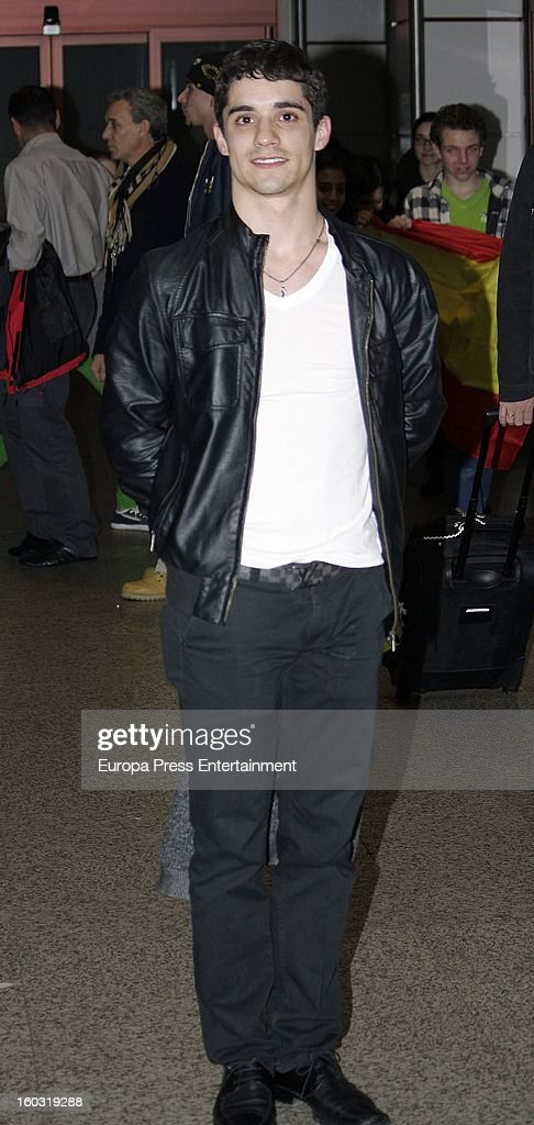 Javier Fernandez is seen arriving at Spain after winning the title as The 2013 European Figure Skating Championships 2013 in Zagreb on January 28, 2013 in Madrid, Spain.
