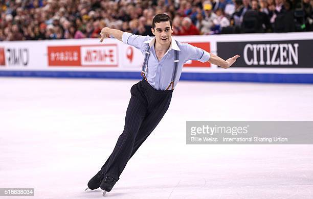 Javier Fernandez of Spain competes during Day 5 of the ISU World Figure Skating Championships 2016 at TD Garden on April 1 2016 in Boston...