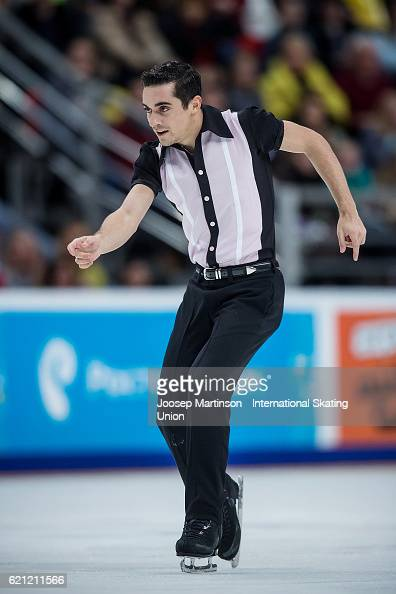 Javier Fernandez of Spain competes during Men's Free Skating on day two of the Rostelecom Cup ISU Grand Prix of Figure Skating at Megasport Ice...