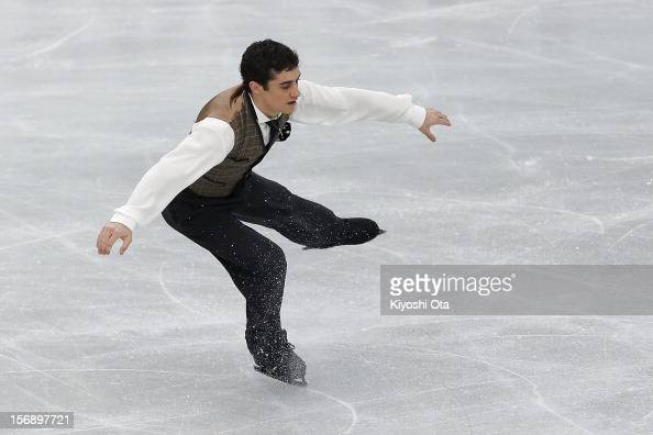 Javier Fernandez of Spain competes in the Men Free Skating during day two of the ISU Grand Prix of Figure Skating NHK Trophy at Sekisui Heim Super...
