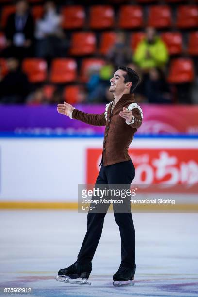 Javier Fernandez of Spain competes in the Men's Free Skating during day two of the ISU Grand Prix of Figure Skating at Polesud Ice Skating Rink on...