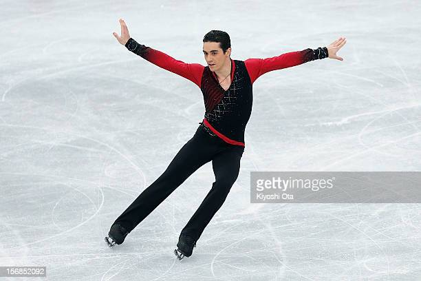 Javier Fernandez of Spain competes in the Men's Short Program during day one of the ISU Grand Prix of Figure Skating NHK Trophy at Sekisui Heim Super...