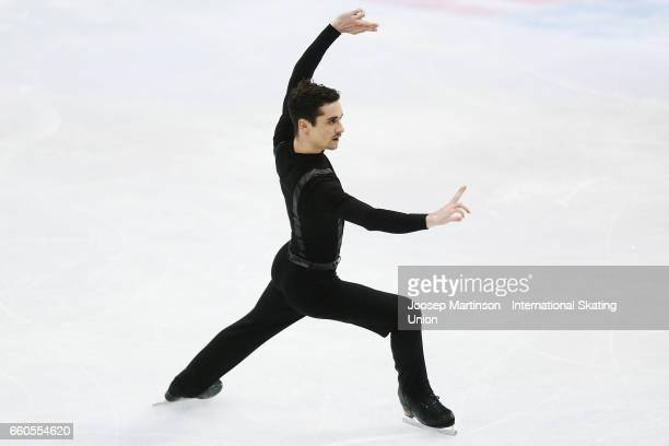 Javier Fernandez of Spain competes in the Men's Short Program during day two of the World Figure Skating Championships at Hartwall Arena on March 30...