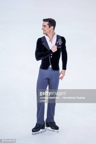 Javier Fernandez of Spain competes in the Men's Short Program during day one of the ISU Grand Prix of Figure Skating at Polesud Ice Skating Rink on...
