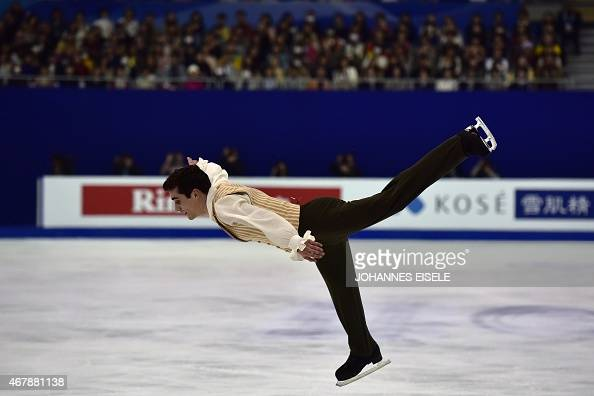 Javier Fernandez of Spain competes to win the men's free skating of the 2015 ISU World Figure Skating Championships at Shanghai Oriental Sports...