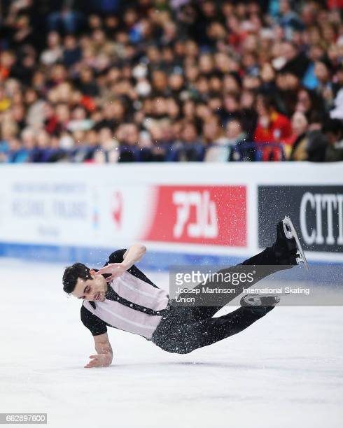 Javier Fernandez of Spain crashes in the Men's Free Skating during day four of the World Figure Skating Championships at Hartwall Arena on April 1...