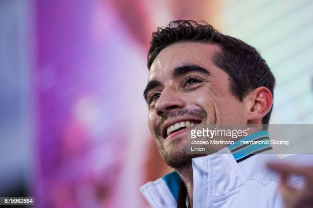 Javier Fernandez of Spain looks on at the kiss and cry in the Men's Free Skating during day two of the ISU Grand Prix of Figure Skating at Polesud...