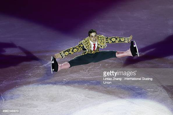 Javier Fernandez of Spain perform during the Exhibition Program on day three of Audi Cup of China ISU Grand Prix of Figure Skating 2015 at Beijing...