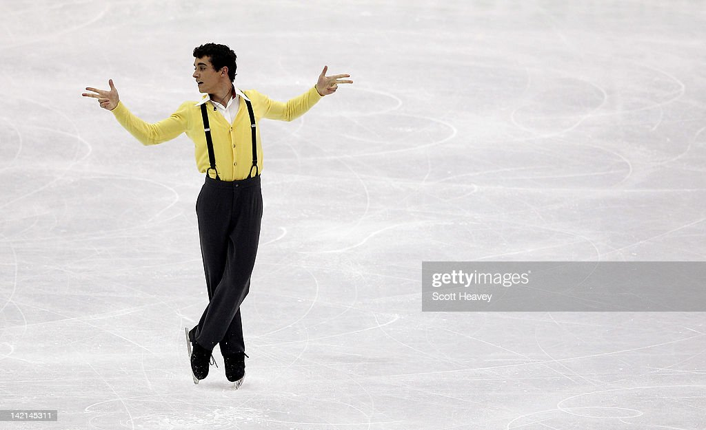 Javier Fernandez of Spain performs during day five of the ISU World Figure Skating Championships on March 30, 2012 in Nice, France.