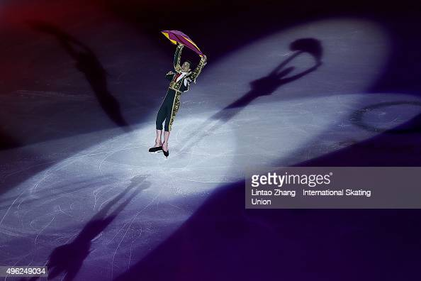 Javier Fernandez of Spain performs during the Exhibition Program on day three of Audi Cup of China ISU Grand Prix of Figure Skating 2015 at Beijing...