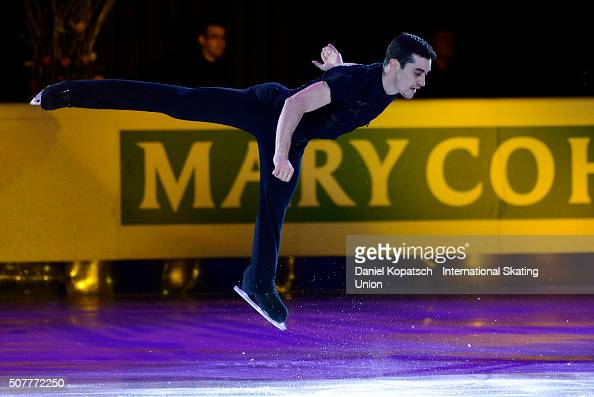 Javier Fernandez of Spain performs during the Gala Exhibition during day five of the ISU European Figure Skating Championships 2016 on January 31...