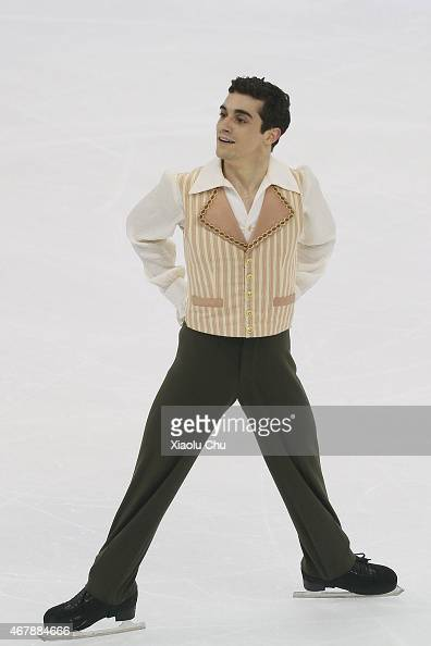 Javier Fernandez of Spain performs during the Ice DanceMan Free Skating Program on day four of the 2015 ISU World Figure Skating Championships at...