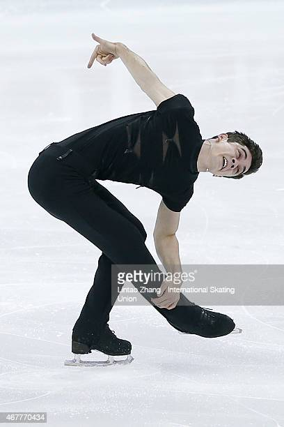 Javier Fernandez of Spain performs during the Ice DanceMan Short Program on day three of the 2015 ISU World Figure Skating Championships at Shanghai...
