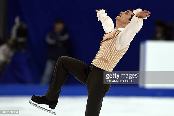 Javier Fernandez of Spain performs during the men's free skating of the 2015 ISU World Figure Skating Championships at Shanghai Oriental Sports...