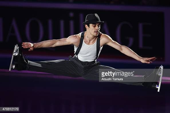 Javier Fernandez of Spain performs his routine in the exhibition on the day four of the ISU World Team Trophy at Yoyogi National Gymnasium on April...