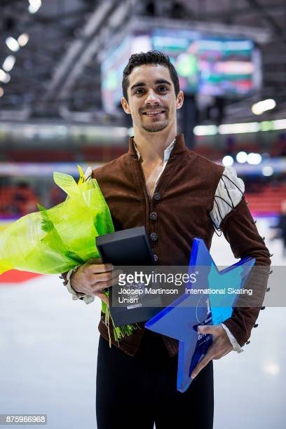 Javier Fernandez of Spain poses in the Men's medal ceremony during day two of the ISU Grand Prix of Figure Skating at Polesud Ice Skating Rink on...