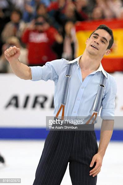 Javier Fernandez of Spain reacts after competing in the Men's Singles Free Skating during day five of the ISU World Figure Skating Championships 2016...