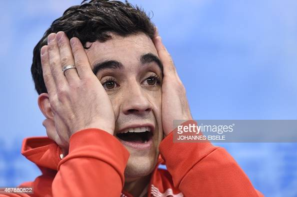 Javier Fernandez of Spain reacts after the men's free skating of the 2015 ISU World Figure Skating Championships at Shanghai Oriental Sports Center...
