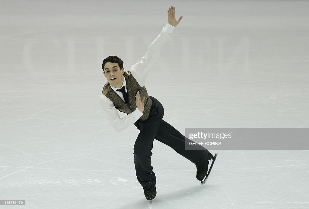 Javier Fernandez of Spain skates his free program in the men's competition at the 2013 World Figure Skating Championships in London, Ontario, March 15, 2013. AFP PHOTO / Geoff Robins
