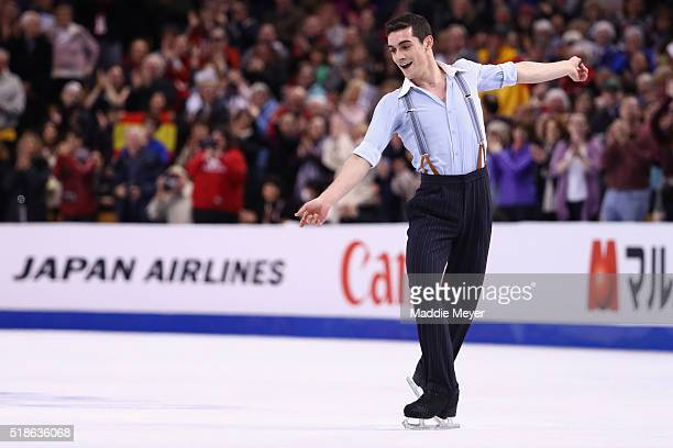 Javier Fernandez of Spain skates in the Men's Free Skate program during Day 5 of the ISU World Figure Skating Championships 2016 at TD Garden on...