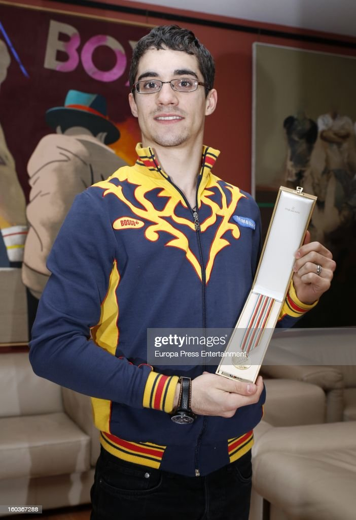 Javier Fernandez poses for a photo session after winning the title as The 2013 European Figure Skating Championships 2013 in Zagreb on January 29, 2013 in Madrid, Spain.