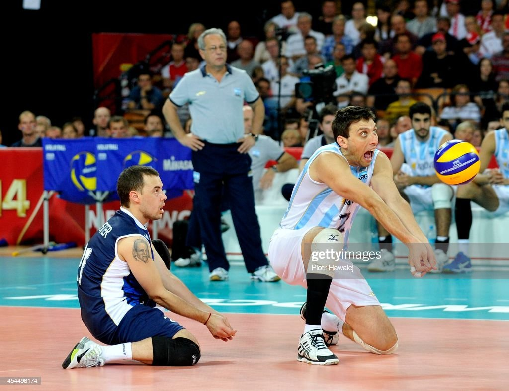Javier Filardi of Argentina receives the ball during the FIVB World Championships match between Serbia and Argentina on September 2, 2014 in Wroclaw, Poland.