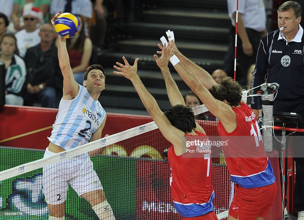 Javier Filardi of Argentina spikes the ball during the FIVB World Championships match between Serbia and Argentina on September 2, 2014 in Wroclaw, Poland.