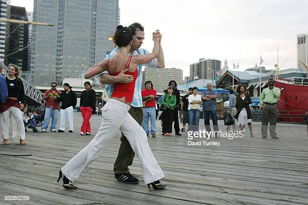Javier Garcia and Moira Sauvane dance the tango at the South Street Seaport June 19 2005 in New York City Javier Garcia an ArgentinianAmerican and a...