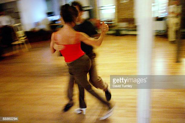 Javier Garcia and Moira Sauvane dance the tango at Triangulo June 7 2005 in New York City Javier Garcia an ArgentinianAmerican and a thirdyear...