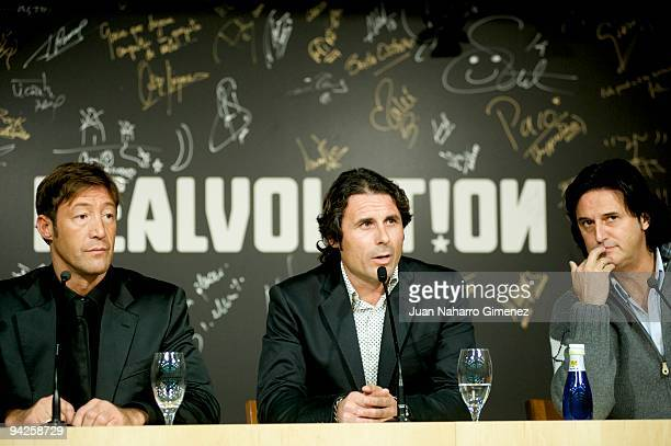Javier Garcia Rafael Alkorta and Poty attend to the presentation of the musical DVD of the Real Madrid football on December 10 2009 in Madrid Spain