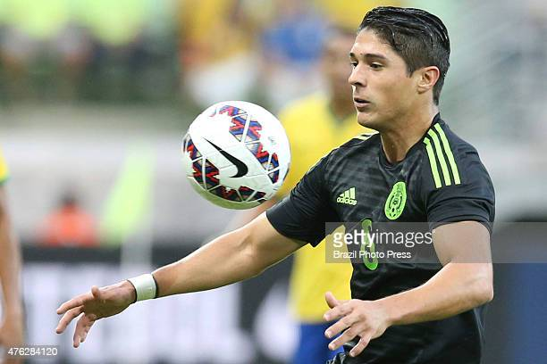 Javier Güemez of Mexico controls the ball during a friendly match between Brazil and Mexico at Allianz Parque Stadium on June 07 2015 in Sao Paulo...