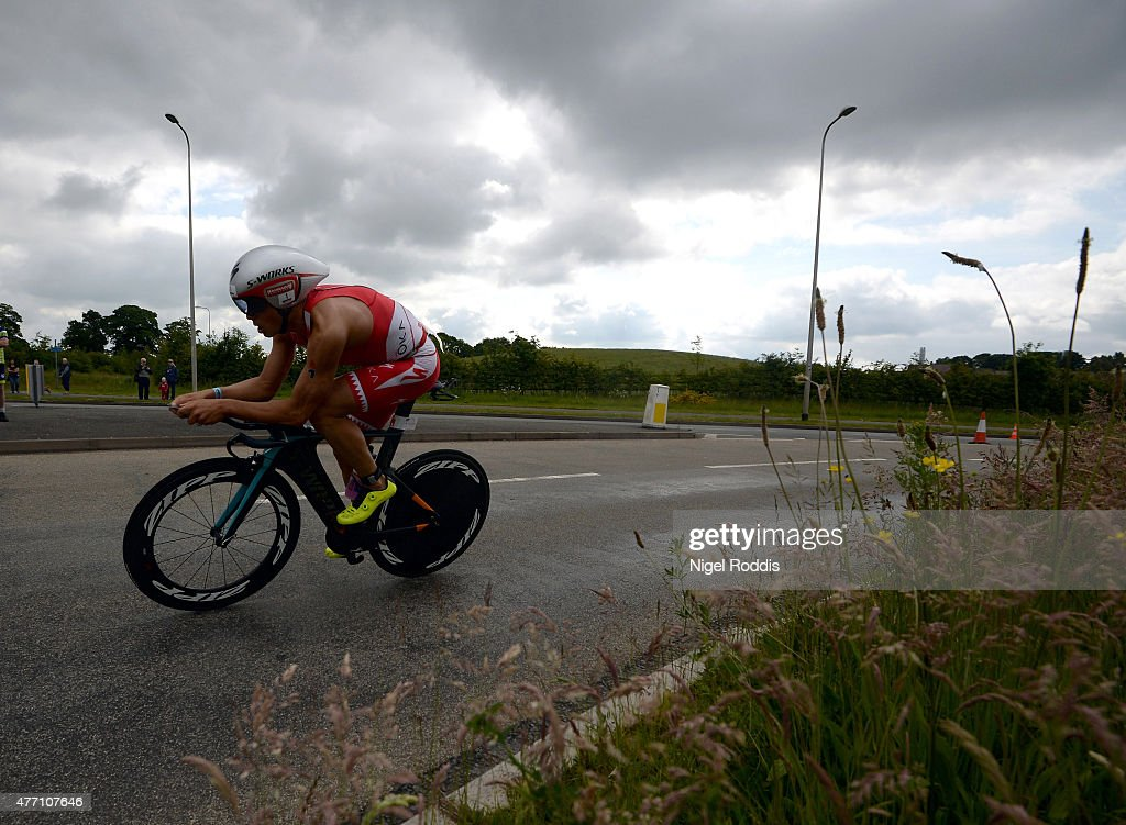 Javier Gomez of Spain competes during the bike section of Ironman 703 Staffordshire on June 14 2015 in Lichfield England