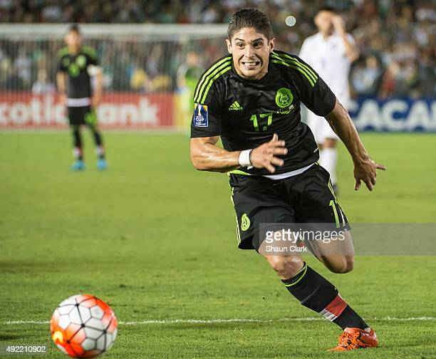 Javier Guemez of Mexico charges into the goal during the CONCACAF Cup between the United States and Mexico at the Rose Bowl on October 10 2015 in...