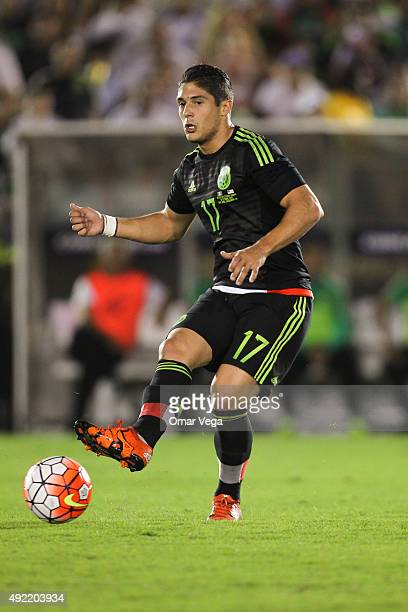 Javier Guemez of Mexico passes the ball during the 2017 FIFA Confederations Cup Qualifier match between USA and Mexico at Rose Bowl Stadium on...