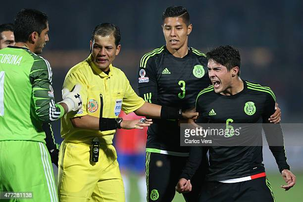 Javier Guemez of Mexico reacts during the 2015 Copa America Chile Group A match between Chile and Mexico at Nacional Stadium on June 15 2015 in...
