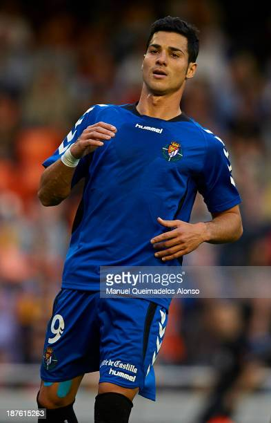 Javier Guerra of Real Valladolid looks on during the La Liga match between Valencia CF and Real Valladolid CF at Estadio Mestalla on November 30 2013...